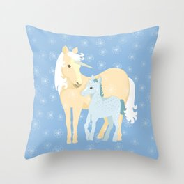 Unicorns. Mom and baby Throw Pillow