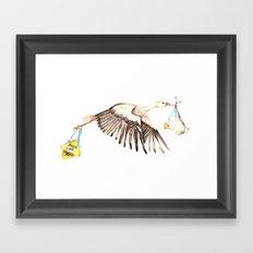 Baby on Bird Framed Art Print