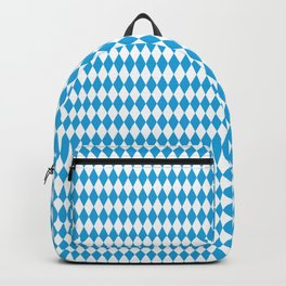 Oktoberfest Bavarian Blue and White Medium Diagonal Diamond Pattern Backpack