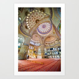 Blue Mosque Interior in Istanbul Art Print