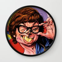 snl Wall Clocks featuring Austin Power, Mike Myers, color by Patrick Dea