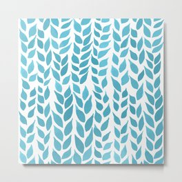 Simple Watercolor Leaves - Light Blue Metal Print