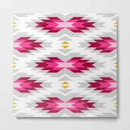 Tribal pattern - grey and pink Metal Print