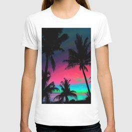 Deep Pink Palm Tree Sunset T-shirt