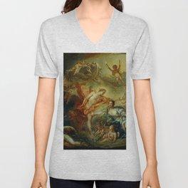 """François Boucher """"Apollo Revealing his Divinity before the Shepherdess"""" Unisex V-Neck"""