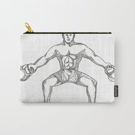 Fitness Athlete Lifting Kettlebell Doodle Art Carry-All Pouch