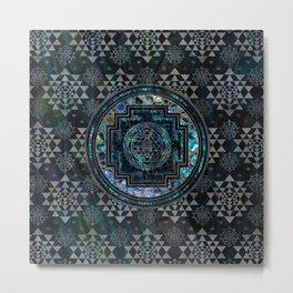 Sri Yantra  / Sri Chakra Abalone Shell and Silver Metal Print