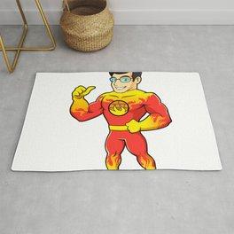 Super hero fireman cartoon Rug
