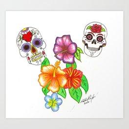 Calavera in Springtime Art Print