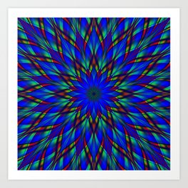 Stained glass flower mandala Art Print
