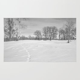 Footprints in the snow Rug