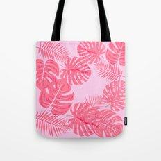 Tropical flamingo pink leaves Tote Bag