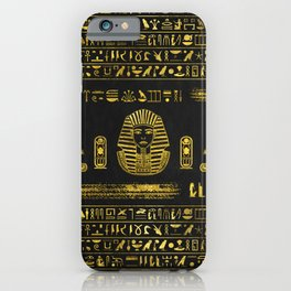Golden Egyptian Sphinx on black leather iPhone Case