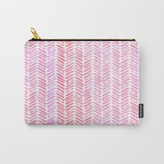 Handpainted Chevron pattern-small- pink watercolor on white Carry-All Pouch