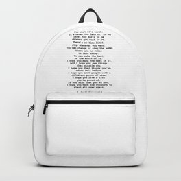 For what it's worth by F Scott Fitzgerald #minimalism #poem Backpack