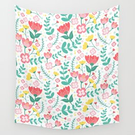 Flower Lovers - White Wall Tapestry