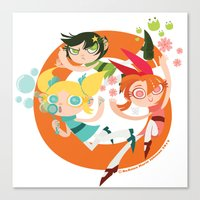 powerpuff girls Canvas Prints featuring Powerpuff Loop by DeAnna Marie Johnson