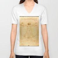 da vinci V-neck T-shirts featuring  Leonardo da Vinci, Vitruvian Man by Mirakyan