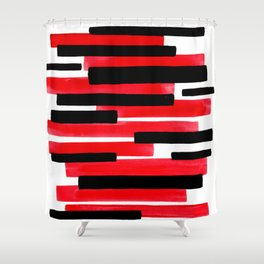 Red Primitive Stripes Mid Century Modern Minimalist Watercolor Gouache Painting Colorful Stripes Shower Curtain