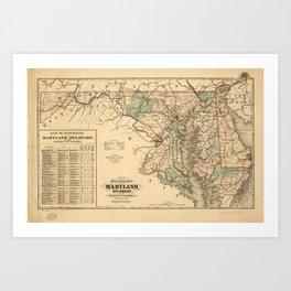 Vintage Maryland Railroad Map (1876) Art Print