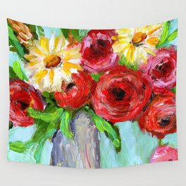 Red Roses and Yellow Daisies Wall Tapestry