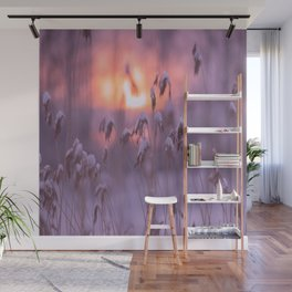 Snowy Reeds Sunset Purple Tone #decor #society6 #buyart Wall Mural