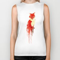 watercolor Biker Tanks featuring The fox, the forest spirit by Picomodi