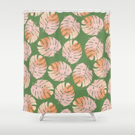 Tropical Green and Coral Leaves Shower Curtain
