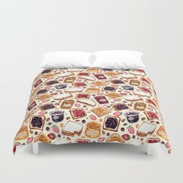 Peanut Butter and Jelly Watercolor Duvet Cover