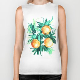 Orange flower watercolor Biker Tank