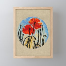 Embroidered Poppies Framed Mini Art Print