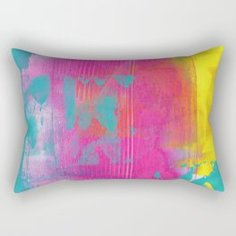 Neon Abstract Acrylic - Turquoise, Magenta & Yellow Rectangular Pillow