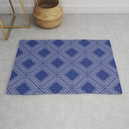 Blue and Gray Bandana Diamond Patch Rug