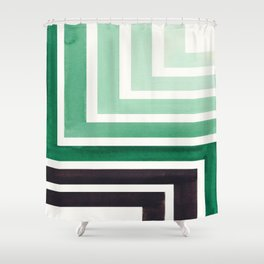 Deep Green Teal Mid Century Modern Watercolor Colorful Ancient Aztec Art Pattern Minimalist Geometri Shower Curtain