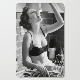 Spaghetti Girl, Black and White Vintage Photograph Cutting Board