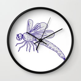 Dragonfly Flying Drawing Side Wall Clock