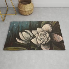 Night Bloom // Gardenia White Flower Stars Magnolia Abstract Painting Southern Garden Tree Plants Rug