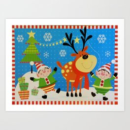 Elves and Reindeer Art Print