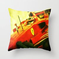 formula 1 Throw Pillows featuring Formula 1 team Ferrari by frenchtoy