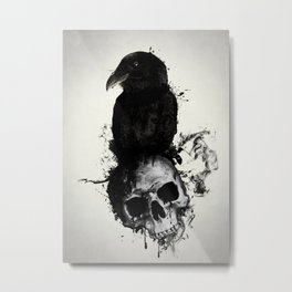 Raven and Skull Metal Print