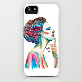 Colorful ink drawing of a women, ink art, girl illustration, modern women art iPhone Case