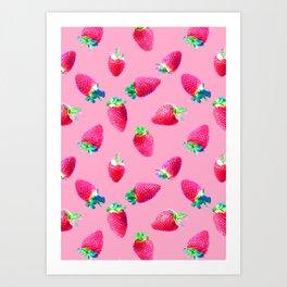 Pink Strawberry Pop Art Print