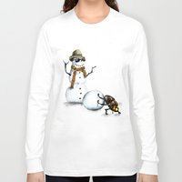 snowman Long Sleeve T-shirts featuring Snowman by Anna Shell
