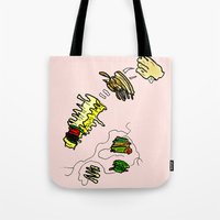 netflix Tote Bags featuring Basquiat Netflix by alexSHARKE