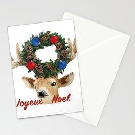 Joyeux noel - French Merry Christmas deer Stationery Cards