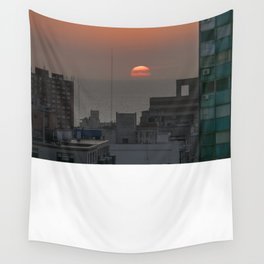 Aerial View of Sunset at the River in Montevideo Uruguay Wall Tapestry