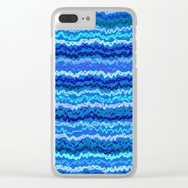 Scribbled Stripes in Ocean Blues Clear iPhone Case