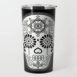 Día de Muertos Calavera • Mexican Sugar Skull – White on Black Travel Mug