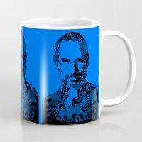 steve jobs Mugs featuring Steve Jobs blue by Rebecca Bear