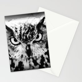 owl look digital painting reacbw Stationery Cards
